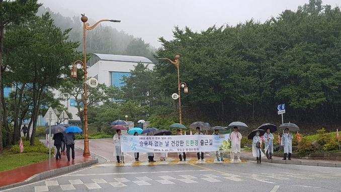 '세계 차 없는 날' 기념, 청송군 직원들 걸어서 출근
